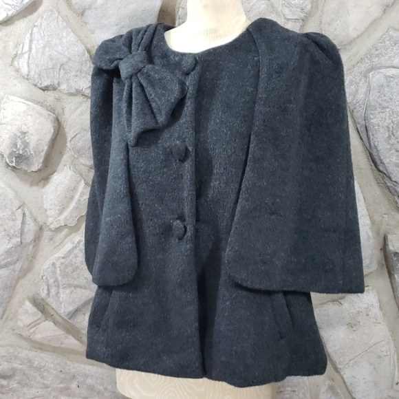 Ryu Jackets & Blazers - Ryu Gray Bow Cape Coat